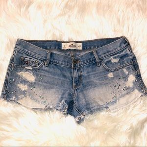 Hollister distressed Jean shorts with rhinestones